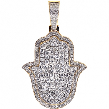 Mens Iced Out Diamond Hamsa Hand Pendant 5.08 ct 14K Yellow Gold