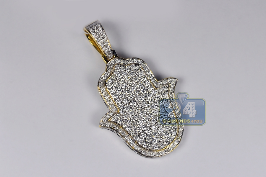 Mens iced out diamond hamsa hand pendant 508 ct 14k yellow gold mozeypictures Images