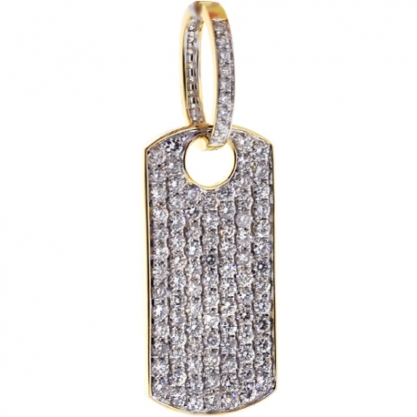 Mens Iced Out Diamond Dog Tag Pendant 14K Yellow Gold 3.81 ct