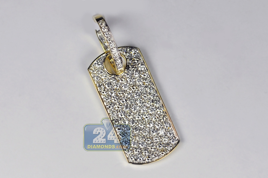 Mens iced out diamond dog tag pendant 14k yellow gold 381 ct mozeypictures Images