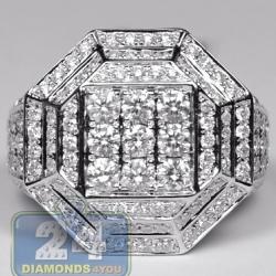 14K White Gold 3.11 ct Diamond Mens Hexagon Ring
