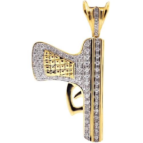 Diamond pistol gun weapon pendant 10k yellow gold 073 ct mens diamond pistol gun weapon pendant 10k yellow gold 073 ct aloadofball Image collections