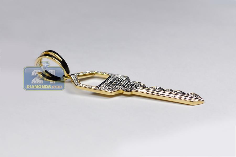 Mens Diamond Squarish Key Pendant 10K Yellow Gold 0.48 Carat