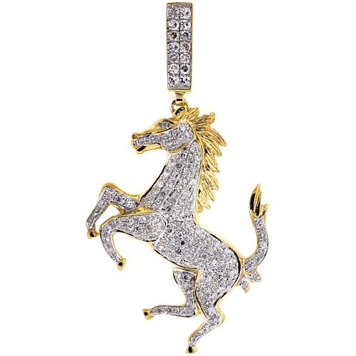 Mens diamond full horse body pendant 10k yellow gold 116ct aloadofball Choice Image
