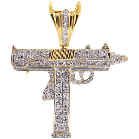 Mens Diamond Uzi Gun Pistol Pendant 10k Yellow Gold 0 78ct
