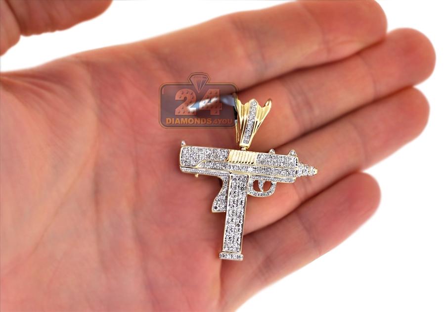 Mens diamond uzi gun pendant 10k yellow gold 078 ct aloadofball Image collections