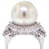 Womens Pearl Diamond Solitaire Ring 18K White Gold 1.58 Carat
