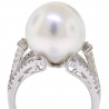 Womens Diamond 14 mm Pearl Solitaire Ring 18K White Gold 0.49 ct
