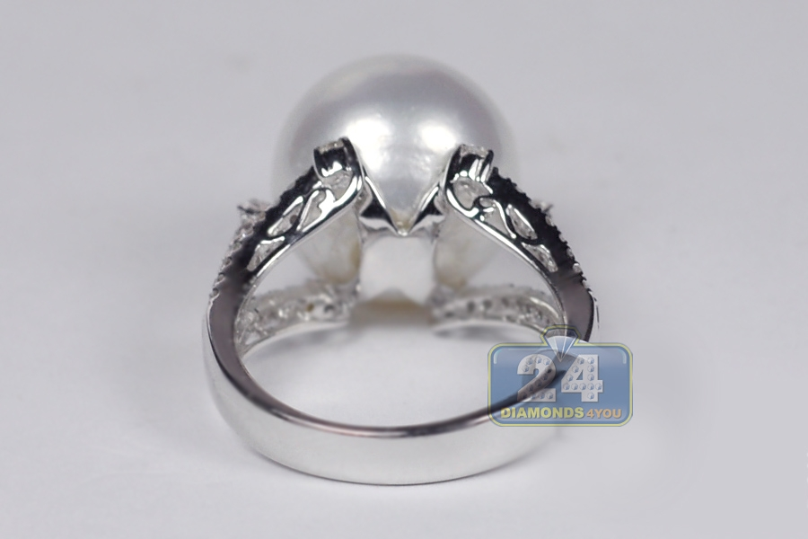 Womens Diamond 14 Mm Pearl Solitaire Ring 18k White Gold 0