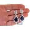 Womens Blue Sapphire Diamond Drop Earrings 18K Gold 22.04 ct
