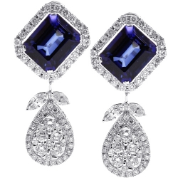 Womens Blue Sapphire Diamond Drop Earrings 18K White Gold 19.08 ct