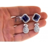 Womens Blue Sapphire Diamond Drop Earrings 18K White Gold 19.08ct