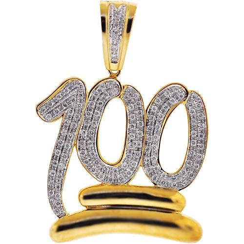 Mens Diamond 100 Points Emoji Pendant 10k Yellow Gold 114ct