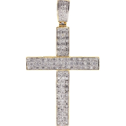 Mens Diamond Latin Cross Pendant 10K Yellow Gold 0.83ct 2.75""