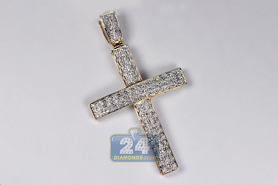 Mens diamond cross pendant 10k yellow gold 083 ct 275 inch mozeypictures Gallery