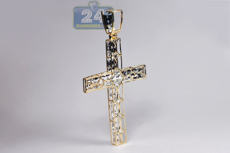 Mens diamond cross pendant 10k yellow gold 083 ct 275 inch mozeypictures