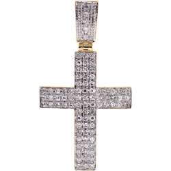 Mens Diamond Latin Cross Pendant 10K Yellow Gold 1.12ct 2""
