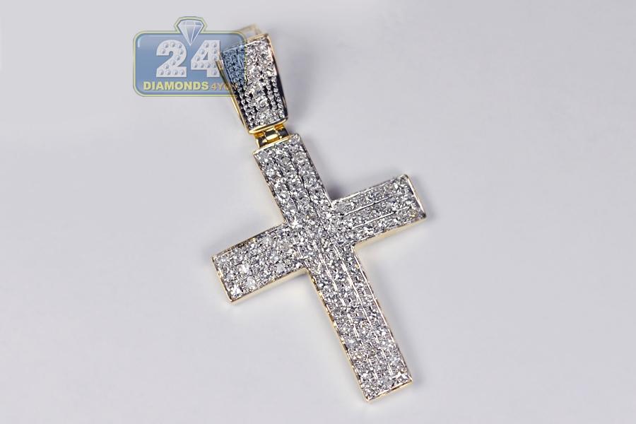 mens cross pendant 10k yellow gold 1 12 carat 2 inch