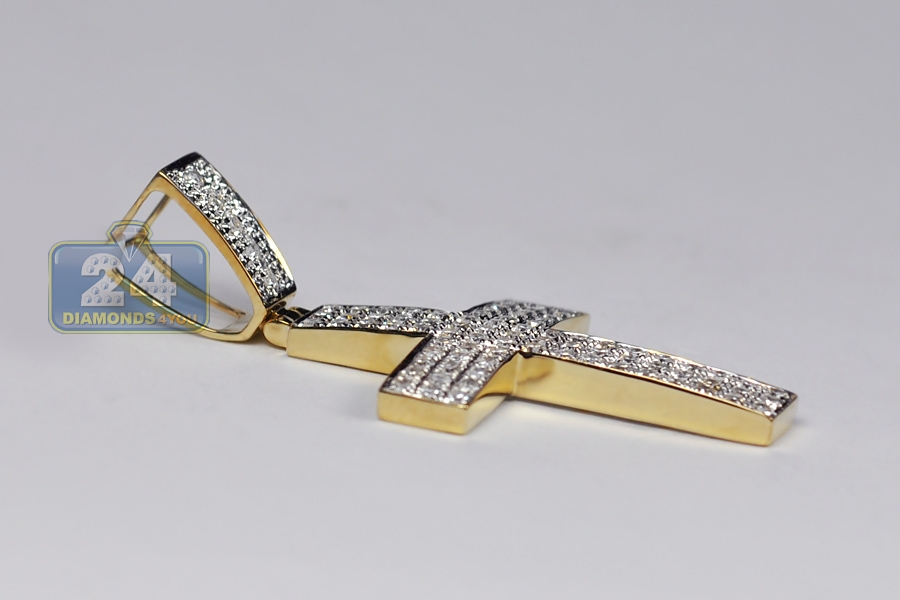 mens cross pendant 10k yellow gold 1 12 ct 2 inches