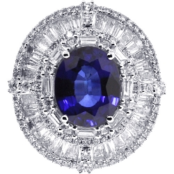 Womens Blue Sapphire Diamond Oval Ring 18K White Gold 9.10 ct