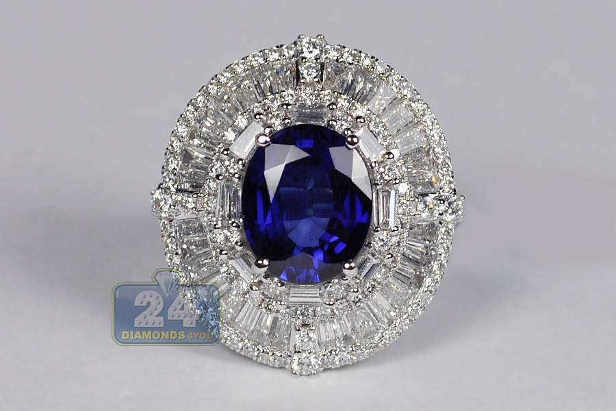 Womens Blue Sapphire Diamond Oval Ring 18k White Gold 9 10 Ct