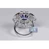 Womens Blue Sapphire Diamond Oval Ring 18K White Gold 9.10 ct