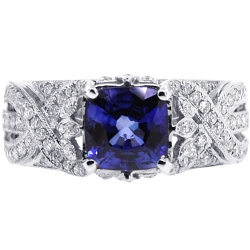 Womens Diamond Blue Sapphire Vintage Ring 18K White Gold 2.78 ct