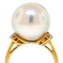 18K Yellow Gold 0.33 ct Diamond 15 mm Pearl Womens Ring