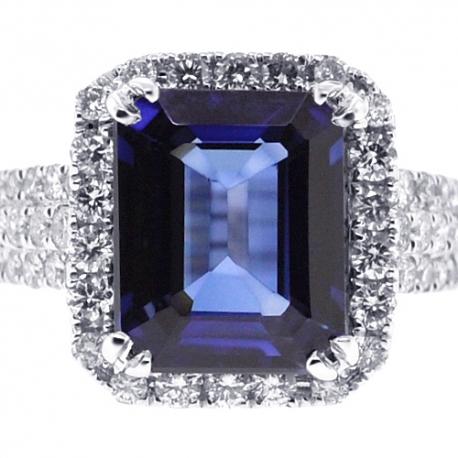 Womens Blue Sapphire Diamond Halo Ring 18K White Gold 7.43 ct