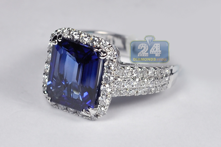 womens blue sapphire diamond halo ring 18k white gold ct. Black Bedroom Furniture Sets. Home Design Ideas