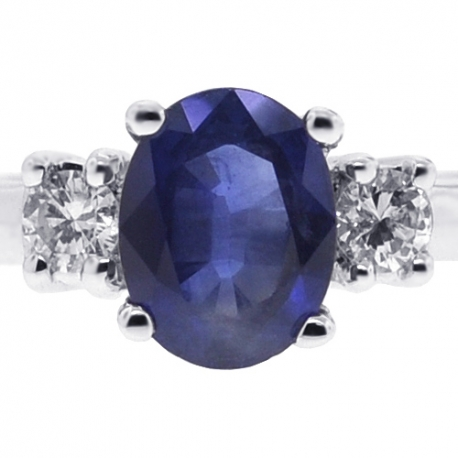 Womens Blue Sapphire Diamond 3 Stone Ring 18K White Gold