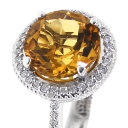 Womens Citrine Diamond Halo Ring 18K White Gold 4.42 ct
