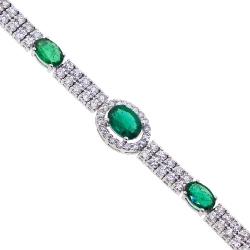 14K White Gold 4.98 ct Diamond Emerald Tennis Bracelet 7 inch