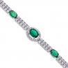 "Womens Diamond Emerald Tennis Bracelet 14K White Gold 4.98 ct 7"""
