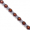 """Womens Garnet Diamond Tennis Bracelet 18K White Gold 10.89ct 7.5"""""""