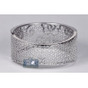 Womens Diamond Filigree Bangle Bracelet 18K Gold 4.33 ct 7 inch
