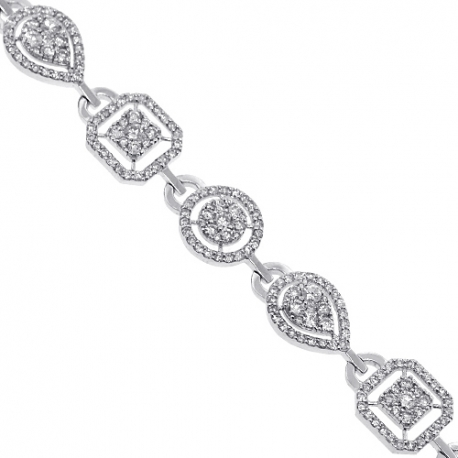 Womens Diamond Halo Bracelet 14K White Gold 5.11 ct 7.25 inch