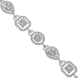 14K White Gold 5.11 ct Diamond Womens Halo Bracelet 7.25 inch