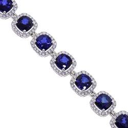 18K White Gold 29.08 ct Blue Sapphire Diamond Bracelet 7 inch