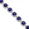 "Womens Diamond Blue Sapphire Halo Bracelet 18K Gold 29.08 ct 7"""