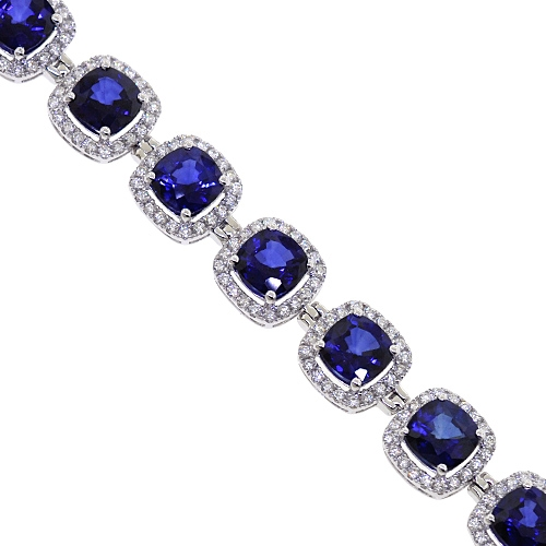 Womens Diamond Blue Sapphire Halo Bracelet 18k Gold 29 08