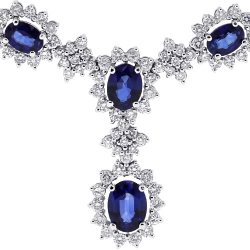 14K White Gold 17.62 ct Blue Sapphire Diamond Y Shape Necklace