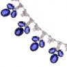 Womens Blue Sapphire Diamond Necklace 14K White Gold 29.74ct 17""