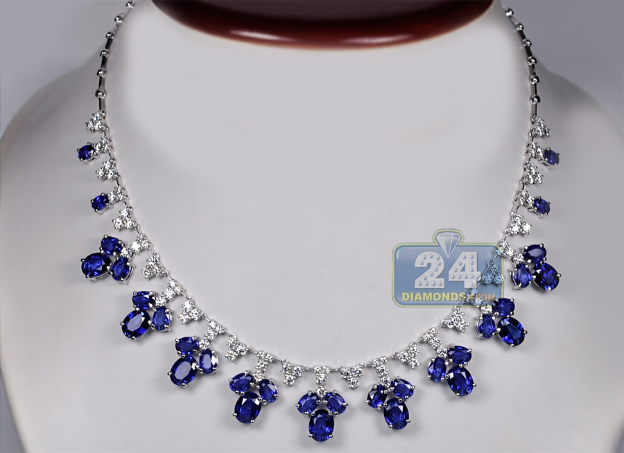 oblong white j style r necklace blue gold sapphire top