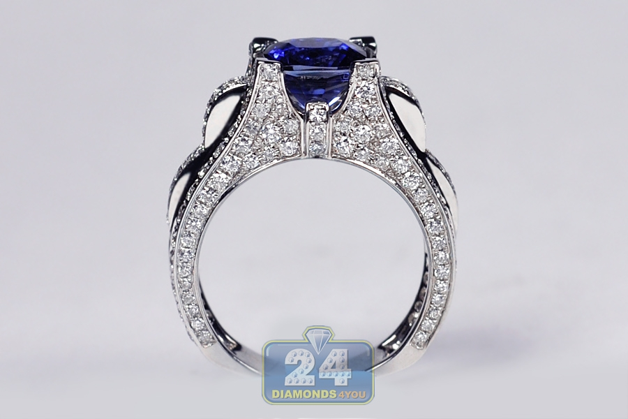 womens sapphire diamond vintage engagement ring 18k white gold. Black Bedroom Furniture Sets. Home Design Ideas