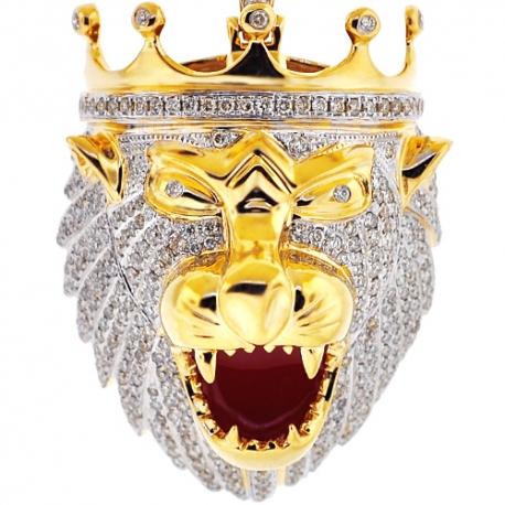 Mens Diamond Lion Head Pendant 14K Yellow Gold 4.08 ct Red Enamel