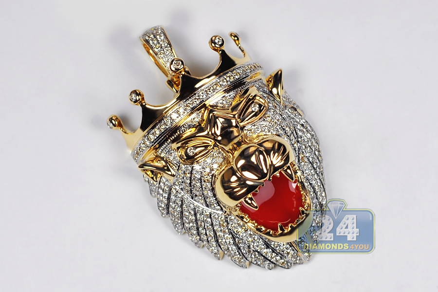 Mens diamond lion head pendant 14k yellow gold 408 ct red enamel aloadofball Image collections
