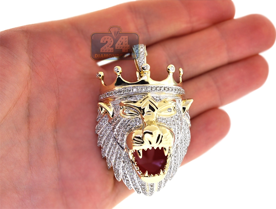 Mens diamond lion head pendant 14k yellow gold 408 ct red enamel aloadofball Gallery
