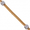 Mens Diamond Franco Bracelet 14K Two Tone Gold 1.02 ct 4mm 9""