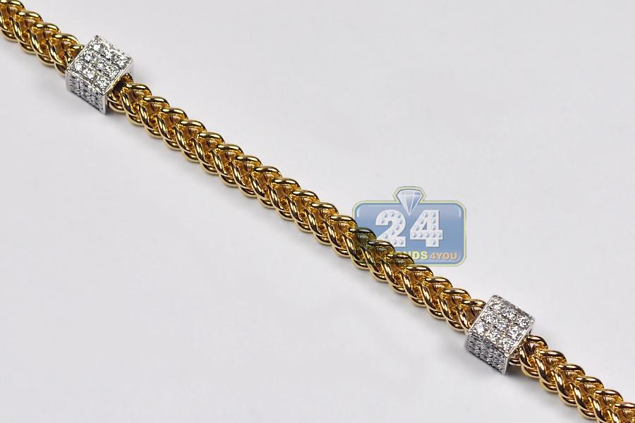 Mens Diamond Franco Bracelet 14k Two Tone Gold 1 02 Ct 4mm 9 Quot
